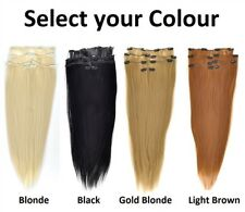 1 Full Set of 7 pieces Long Straight Clip on Hair Extension Hairpiece 50cm UK