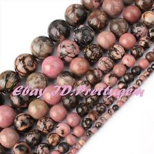 "Natural Round Multicolor Rhodonite Gemstone Spacer Beads 15"" 2-16mm Pick Size"