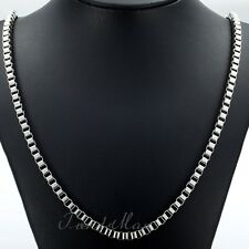 2/3/4mm Mens Boys Chain Silver Tone Box Stainless Steel Necklace 18''20''36inch