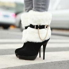 HOT Fashion woman sexy Synthetic Faux fur chain high-heeled winter boots shoes