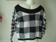 Women's sweaters black white sweater M or L Beverly Hills Made in USA