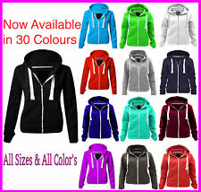 Womens PLAIN COLOUR HOODIE Zipper Sweatshirt Jacket Top Cosy Ladies New 8-22