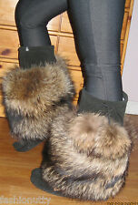NEW AUTHENTIC LUXURY CANADIAN MUKLUKS BLACK SUEDE RACCOON FUR, SPECIAL ORDER