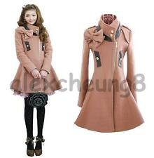 NEW Lady Sexy Cute Trench Woolen Bowknot DustCoat Coat Dress Jacket S M L Pink