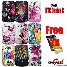9 COLOUR BUTTERFLY FLOWER HARD PHONE CASE COVER FOR HTC DESIRE C MOBILE PHONE
