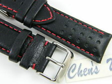 HQ ITALY GOAT LEATHER RACING GT RALLY BLACK WATCH BAND 20~24MM RED STITCH STRAP