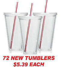 72 NEW CANDY CANE STRAW Tumblers Cups Glasses 16 OZ. CLEAR just $5.39/each