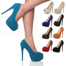WOMENS LADIES HIGH HEEL PLATFORM STILETTO PARTY PUMPS PEEP TOE COURT SHOES SIZE