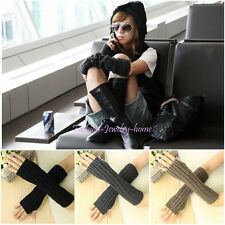 New Unisex Women Men Arm Warmer Long Fingerless knit Winter Gloves 6 Colors