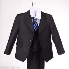 Boy 5 pcs Pinstripe Formal Suit Waistcoat Wedding Page Outfit Size 1y-6y #025B