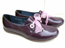 NEW GIRLS BARTEK SHINY REAL PATENT LEATHER PURPLE PINK BROGUES LACE FORMAL SHOES