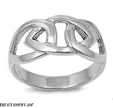 10mm .925 Sterling Silver Linking Hearts Celtic look sizes 5-10  Irish Claddagh