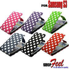 Colourful Polka Dot PU Leather Phone Flip Case Cover Fits Samsung Galaxy S3 I747