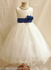 IVORY/ROYAL BLUE TODDLER WEDDING PAGEANT RECITAL PARTY GOWN FLOWER GIRL DRESS