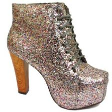 LADIES MULTI GLITTER LACE-UP PLATFORM HIGH BLOCK-HEEL ANKLE BOOTS SHOES SIZE 3-8