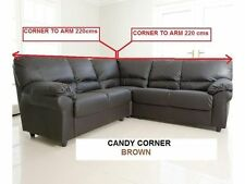 Candy Corner/ 3 + 2 Seater Faux Leather Sofa - Choice Of Black/ Brown or Cream