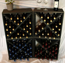Wine Rack Cubes Pine With Black Stain Collection Wine Storage