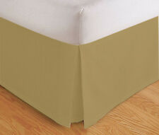 "TAILORED BED SKIRT, PLEATED DUST RUFFLE, 14"" DROP, GOLD BEIGE, TWIN QUEEN KING"