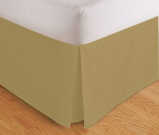 """TAILORED BED SKIRT, PLEATED DUST RUFFLE, 14"""" DROP, GOLD BEIGE, TWIN QUEEN KING"""
