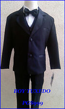 NEW BLACK BOY INFANT TODDLER TEEN TUXEDO WITH VEST BOW TIE FORMAL SUIT ALL SIZE