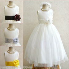 IVORY WITH COLOR SASH INFANT TODDLER PAGEANT BRIDAL PARTY GOWN FLOWER GIRL DRESS