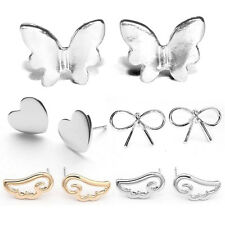 Lady Women Silver Toned Plated Stud Earrings Gift Present Heart Butterfly Bows