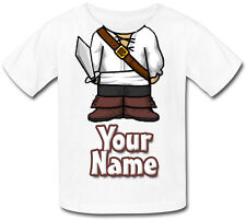 PIRATE BODY PERSONALISED CHILDS T-SHIRT -GREAT KIDS FANCY DRESS GIFT & NAMED TOO
