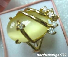 18KGP Inlay Yellow Opal Crystal Ring Size : 7. 8. 9