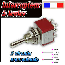 932# interrupteur à levier 2 circuits momentanés MOM - OFF - MOM     1 à 25pcs