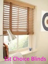 SUPERIOR MADE TO MEASURE WOODEN VENETIAN BLIND LIGHT OAK WITH TAPES REAL WOOD