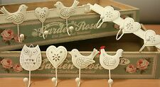 Shabby Vintage Chic Style Metal Hooks Heart Bird Hen Owl Country Cottage Hook