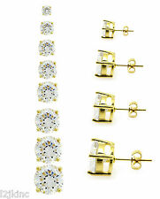 Gold Clear Round Cubic Zirconia CZ Surgical Stainless Steel Stud Earrings