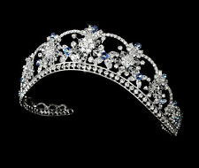 Bridal Wedding Tiara Crown w Color Accented Rhinestones & Floral-Design Crytals