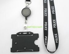 POLICE LANYARD Id card holder BADGE REEL security identity tag photo BLUE BLACK