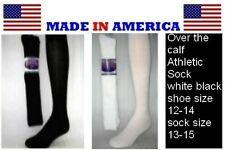 Men's Big & Tall BLACK or WHITE Over The Calf Athletic Socks Shoe size 12-14 USA
