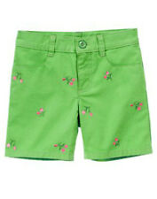 NWT GYMBOREE BRIGHT TULIP BERMUDA SHORTS Size 4 5 6 7 Green Embroidered Tulips