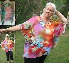 Ladies NEW Plus Size Floaty Poncho Top FREE POSTAGE Butterfly Chiffon Blouse