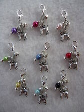 Dog Collar Charm - Dog / Pet Bag Key Charm - Chihuahua / Small Dog + Bead + Bell