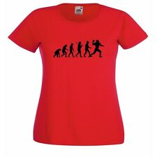 Evolution Of American Football Red Ladies Fitted T-Shirt NFL SuperBowl All Sizes