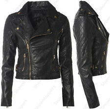 Size 8 10 12 14 16 NEW Womens BIKER JACKET Crop FAUX LEATHER Ladies ZIP Coat