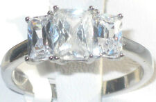 size J - T  5 - 10 3 Stone Engagement Ring 2.85ct Simulated Diamond LTK059E