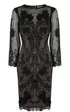 Black Beige Nude Embroidery Lace Baroque Evening Cocktail Dress UK 8 10 12 14 16