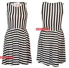 W22 NEW WOMENS LADIES SLEEVELESS TAILORED STRIPED SKATER DRESS IN SIZE 08-14
