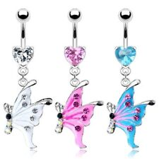 316L Surgical Steel Heart CZ Gem Epoxy Gem Butterfly Dangle Belly Navel Ring