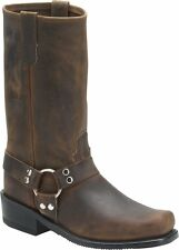 """Men's Double H Boots 4004 12"""" Motorcycle Harness Tan Distressed Leather EE Width"""