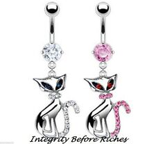 316L Surgical Steel Cat Dangle Navel Belly Ring with CZ Gemmed Cat Tail
