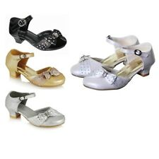 Rsb London Kids Bridesmaid Wedding Party Wt Diamante  Bow & Buckle Shoes