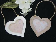HANGING WOODEN HEART FRAME CREAM /DISTRESSED /PHOTO/PICTURE/COUNTRY/WALL/.HOME