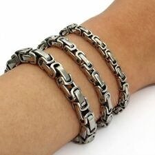 5/6/7mm MENS Chain Silver Tone Box Byzantine Link Stainless Steel Bracelet HOT