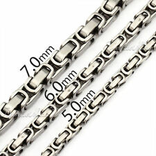 5/6/7mm Mens Chain Silver Tone Stainless Steel Box Byzantine Necklace Bracelet